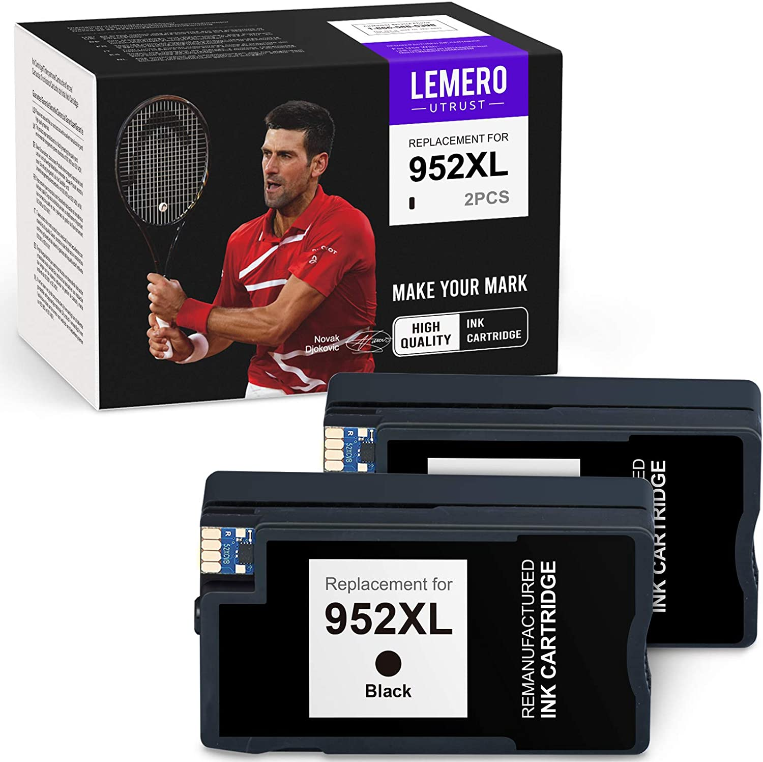 LEMEROUTRUST Remanufactured Ink Cartridge Replacement for HP 952 XL 952XL use with HP OfficeJet 8702 OfficeJet pro 8710 8715 8720 8725 8740 8730 8210 8216 8200 7720 8735 8716 8728 (Black, 2-Pack)