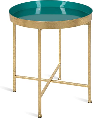 Kate and Laurel Celia Metal Foldable Round Accent Table, 18.25 x 18.25 x 22 , Teal and Gold, Modern Minimalist Design and Detachable Magnetic Tabletop