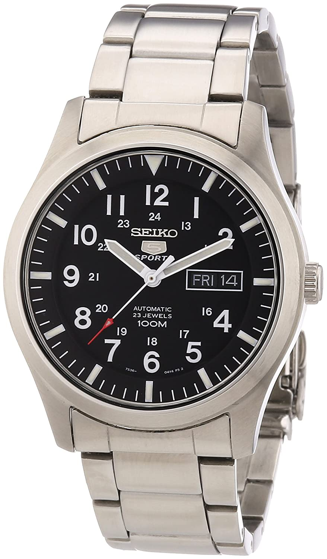 efb17bf745d7 Seiko SNZG13K1 - Reloj analógico de caballero automático con correa de  acero inoxidable plateada - sumergible