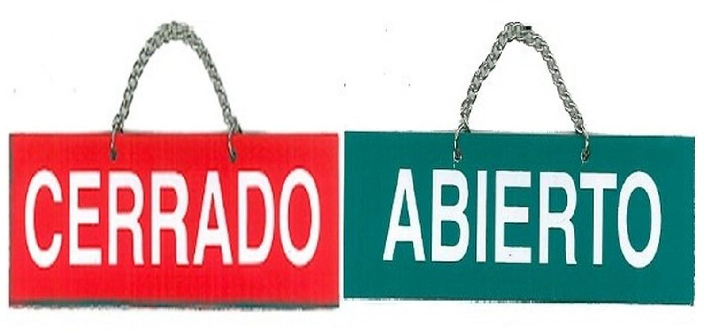 ABIERTO / CERRADO. CARTEL LETRERO CON CADENA 15,5 X 4 CMS ...