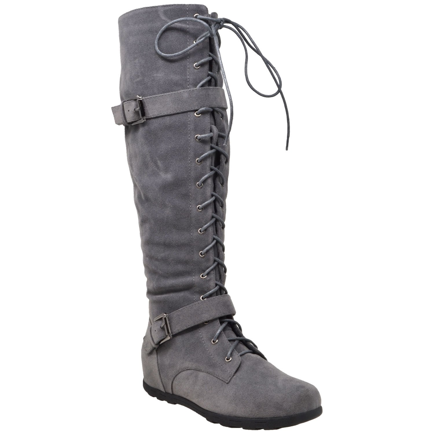 Generation Y Womens Boots Knee High Block Heels Lace Up Combat Buckle Strap Zipper Closure Shoes Gray