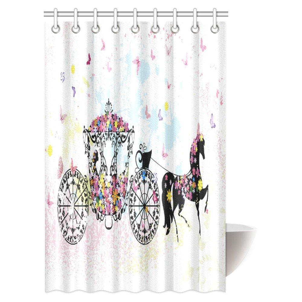 InterestPrint Vintage Floral Shower Curtain, Vintage Floral Carriage Black  Horse Colorful Flowers Fairy Butterfly Cinderella Bathroom Shower Curtain  Set ...