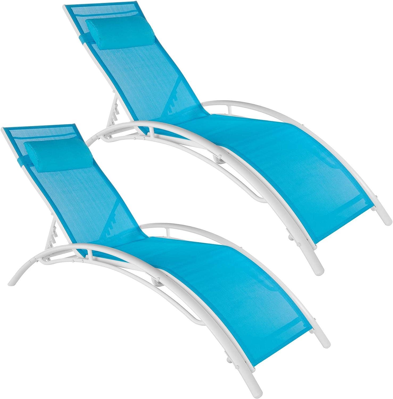 TecTake 800675 - Set de 2 Tumbonas, Impermeable, Incluye Reposacabezas, Respaldo Regulable en 5 Posiciones (Azul | No. 403066)