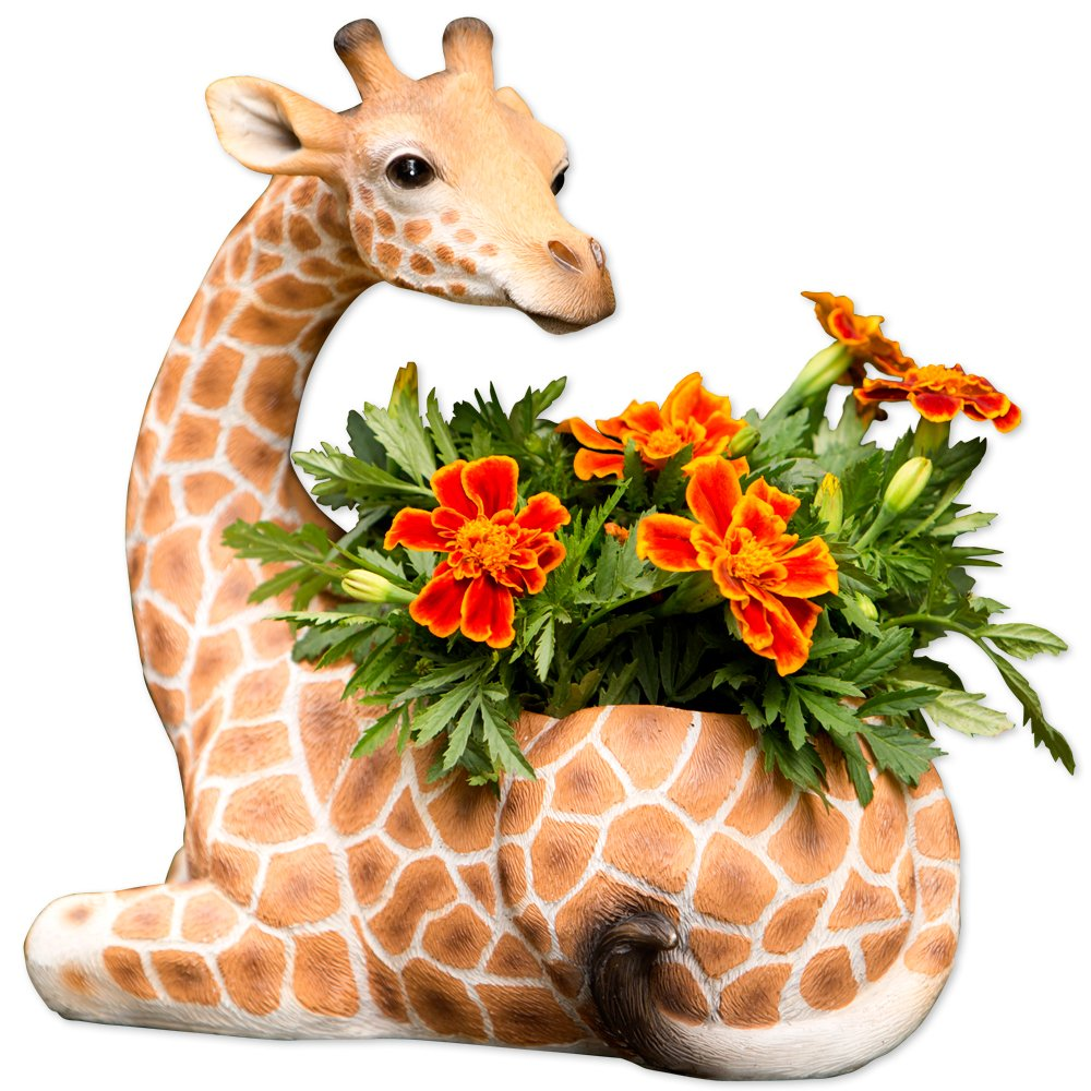 Bits and Pieces – Indoor Outdoor Giraffe Planter – Wildlife Animal Urn for Plants – Durable Polyresin Safari Inspired D cor