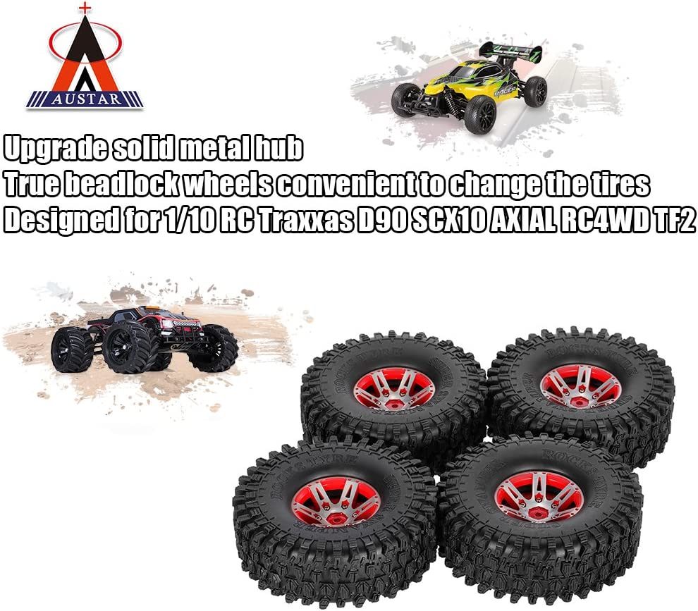 Goolsky 4 pezzi AUSTAR AX-5020B 1,9 pollici Pneumatici 1//10 Rock Crawler con metallo Hub per Traxxas Redcat SCX10 ASSIALE RC Ca