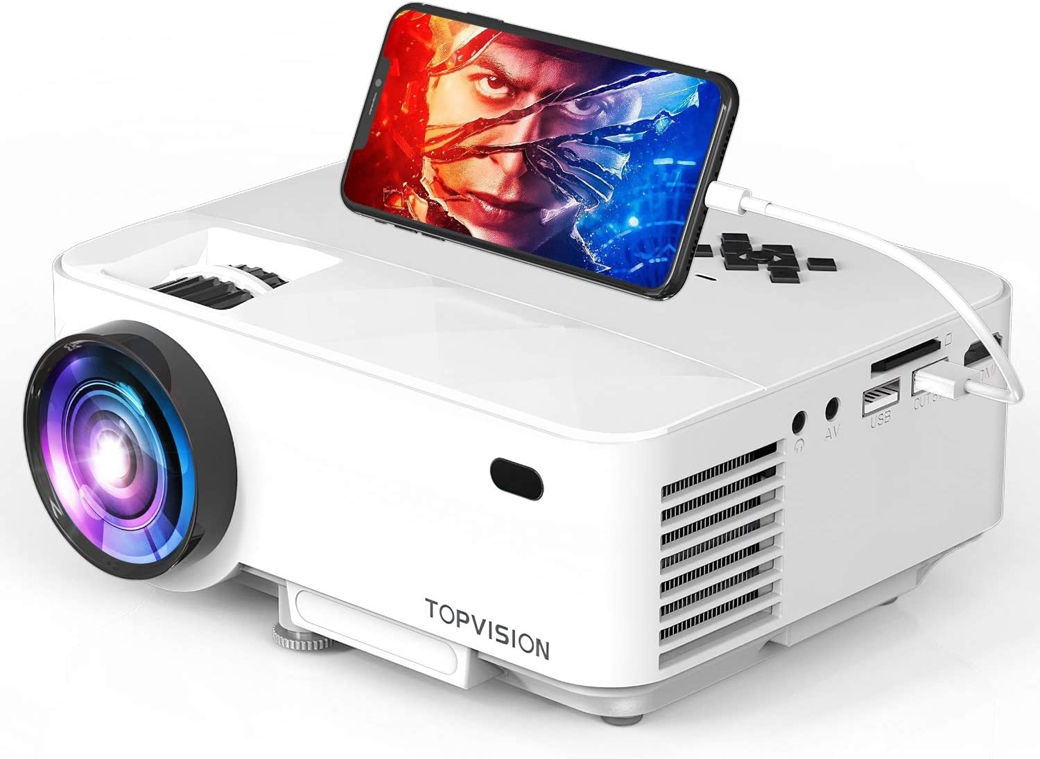 TOPVISION Mini Video Projector 4500LUX Outdoor Movie Projector with Synchronize Smart Phone Screen,Full HD 1080P Supported LED Projector, Compatible with Fire Stick,HDMI,VGA,USB,TV,Box,Laptop,DVD