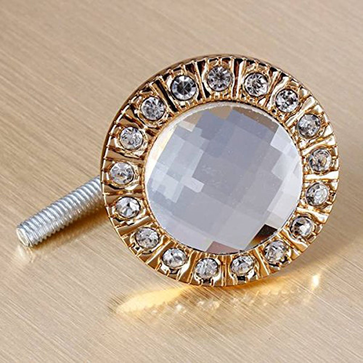 SODIAL(R)1pcs Crystal Glass Clear Round Pull Handle Glittering Rhinestone Knob for Cupboard Drawer Gold by SODIAL (Image #2)