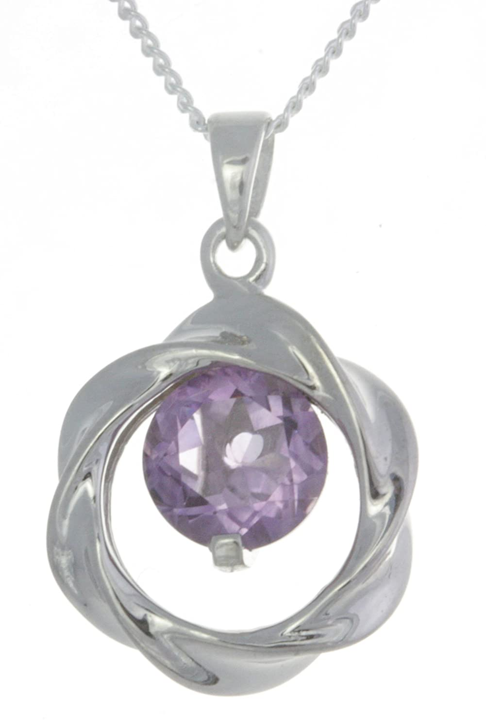 20mm13mm Chain with Amethyst Attractive 925 Sterling Silver Women Pendant