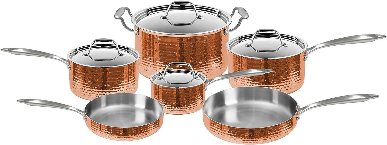 """Hammered Silver Look// Black Handle 8/""""// 9.5/"""" Fryer 7/"""" Pot W// Fleischer /& Wolf"""