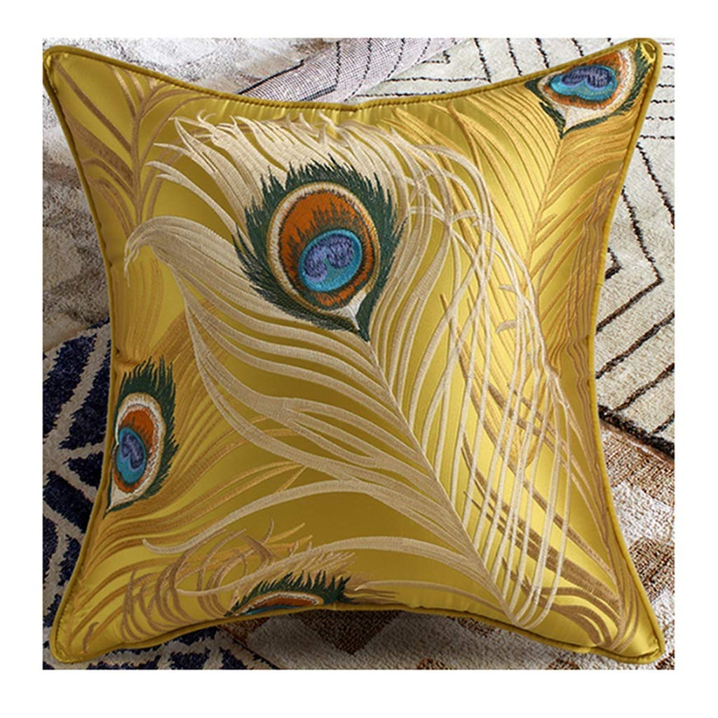 ZDNALS Plant Flower Pillow, Chinese Embroidery Decorative Sofa Cushion 45cm × 45cm Pillow (Pattern : B)