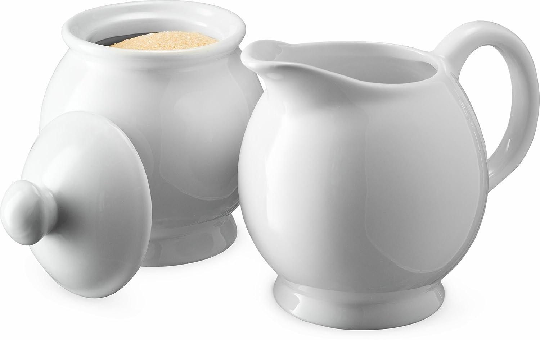 KooK Sugar and Creamer Set, Ceramic Make, White