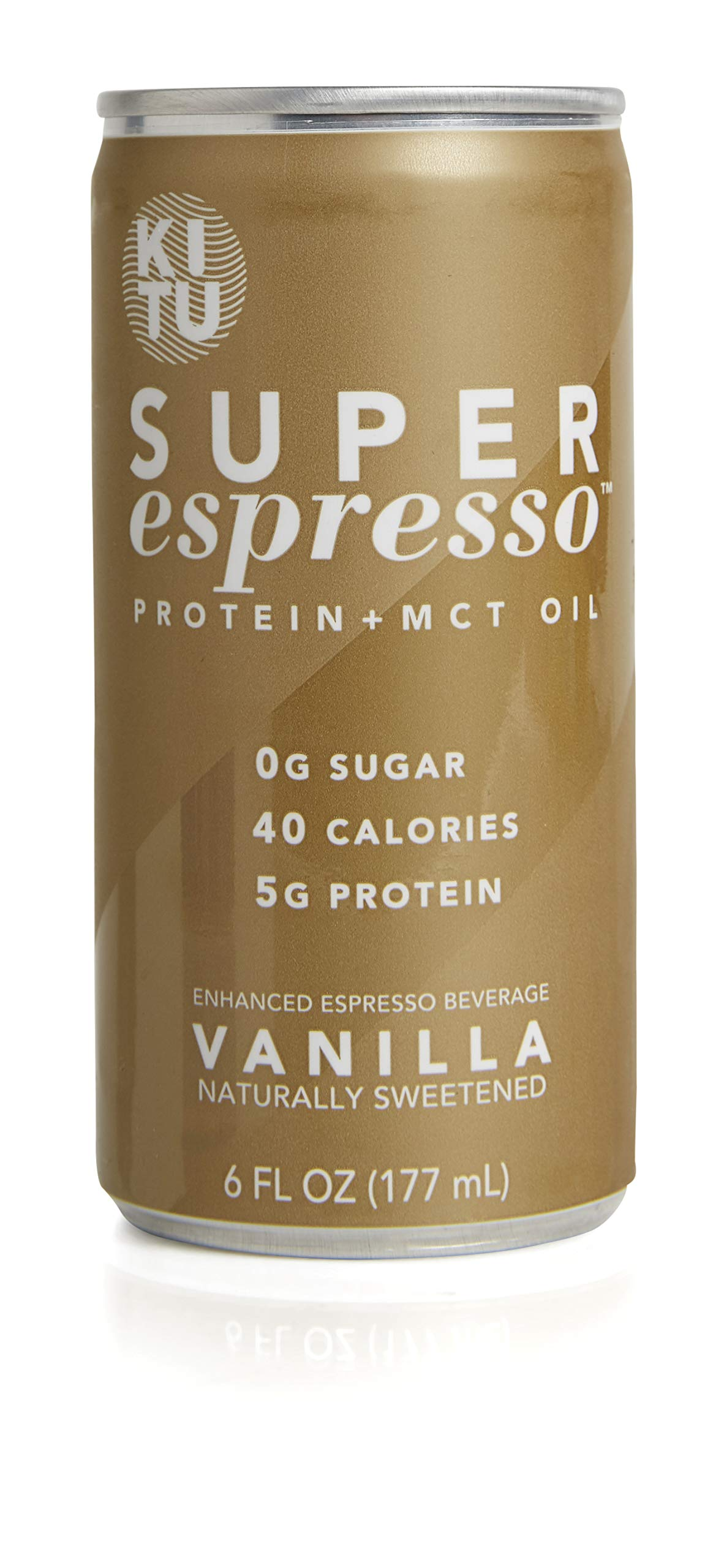 Kitu by SUNNIVA Vanilla Super Espresso with Protein and MCT Oil, Keto Approved, 0g Sugar, 5g Protein, 40 Calories, 6 fl. oz, Pack of 24