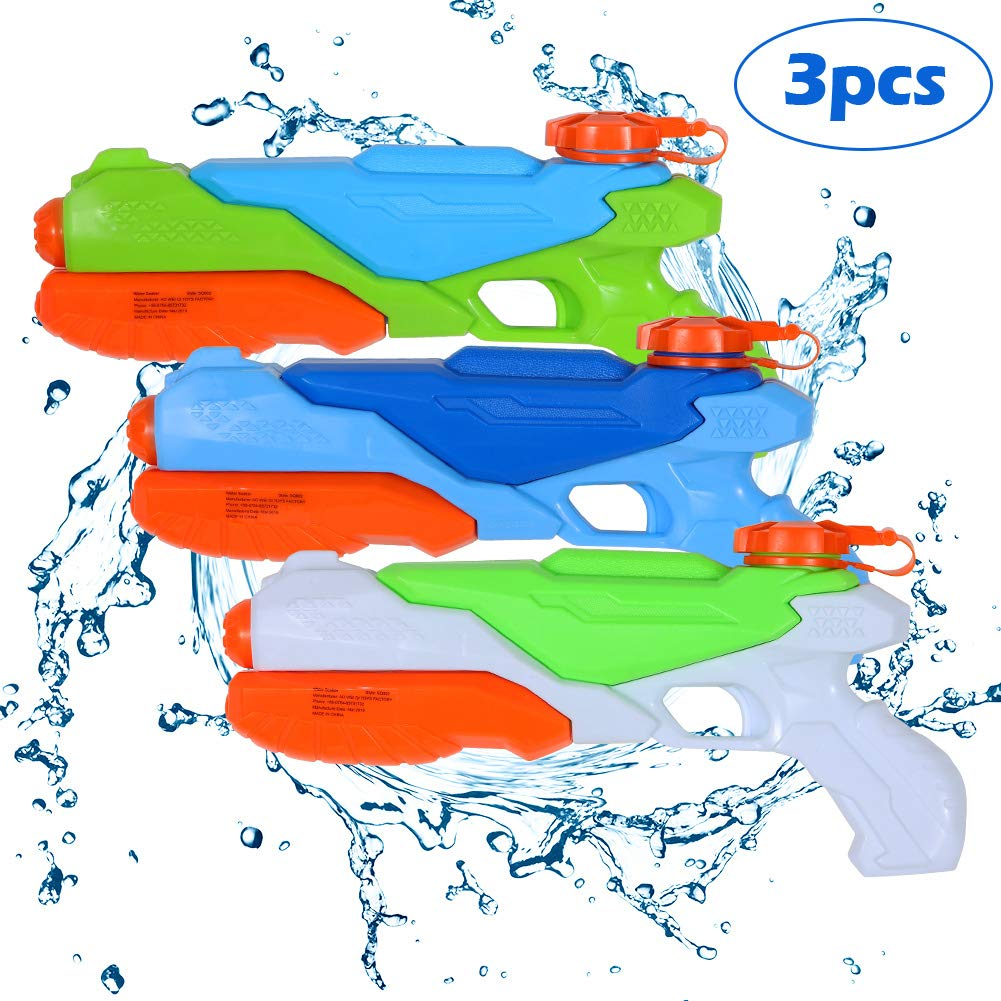 Lumiparty Water Guns 3 Packs,Pool Toys, Water Soaker Blaster Squirt Guns,Summer Water Games,Outdoor Swimming Pool Games Toys for Kids