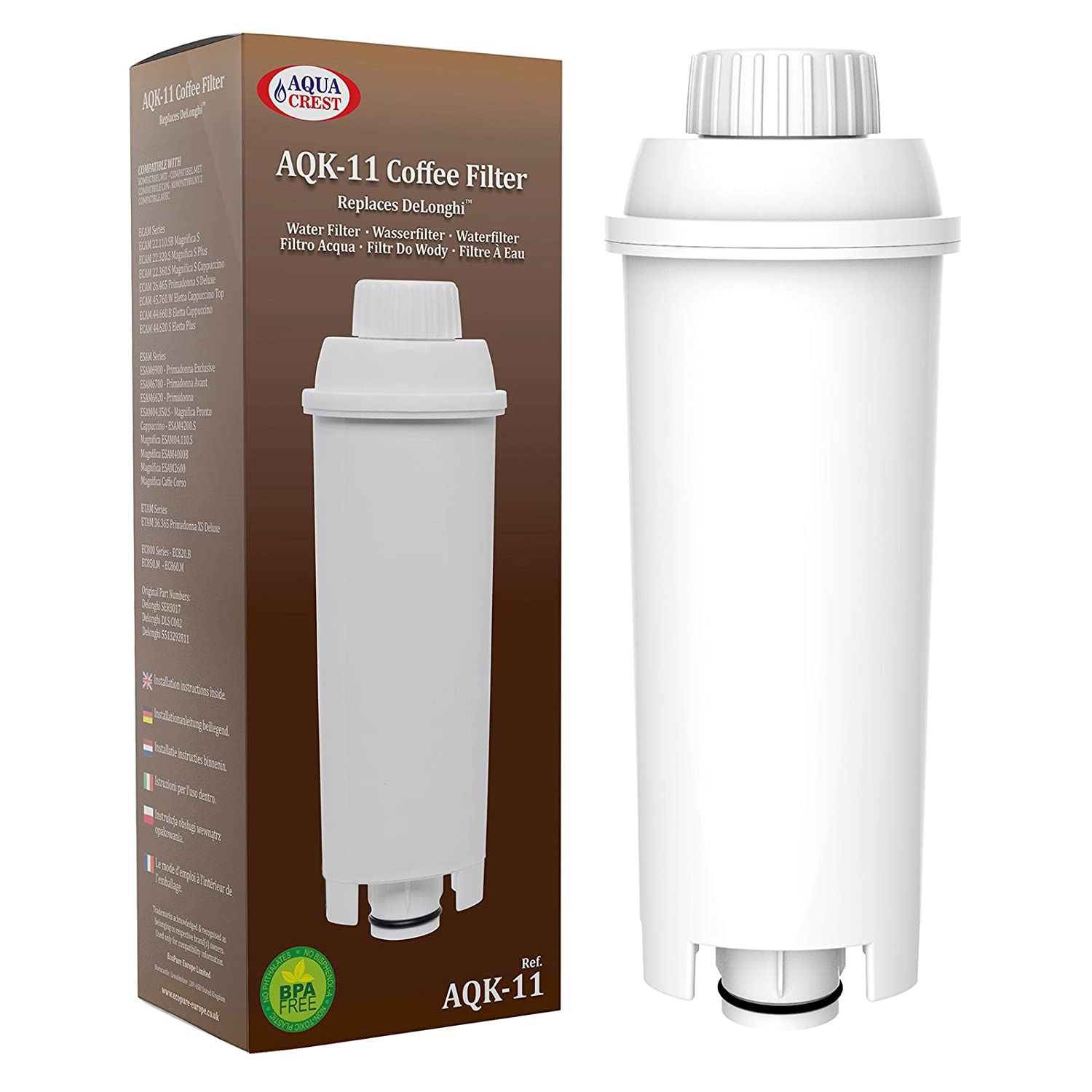 AquaCrest AQK-11 Compatible Coffee-Machine Water Filter Replacement for DeLonghi DLSC002, SER3017 & 5513292811 - including versions of ECAM, ESAM, ETAM series (12) EcoPure