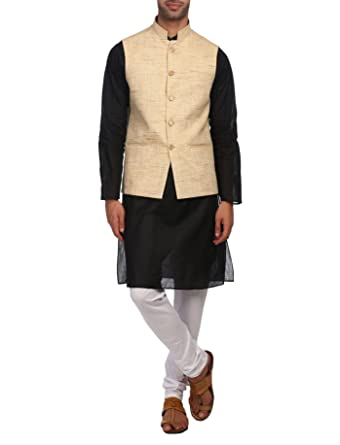 3203db39a9 Wintage Men's KhadiBeige Nehru Jacket Waistcoat and 100% Cotton Black Kurta  Churidar Pajama Indian Ethnic