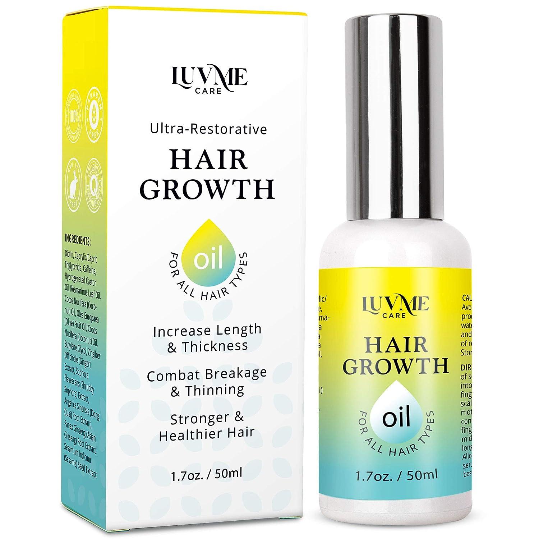 Luv Me Care Biotin Hair Growth Oil Hair Growth Serum for Thicker Longer Fuller Healthier Hair, Prevent Hair Loss & Thinning, All Natural Vitamin Rich Treatment, Women & Men, All Hair Types 1.7 oz : Beauty