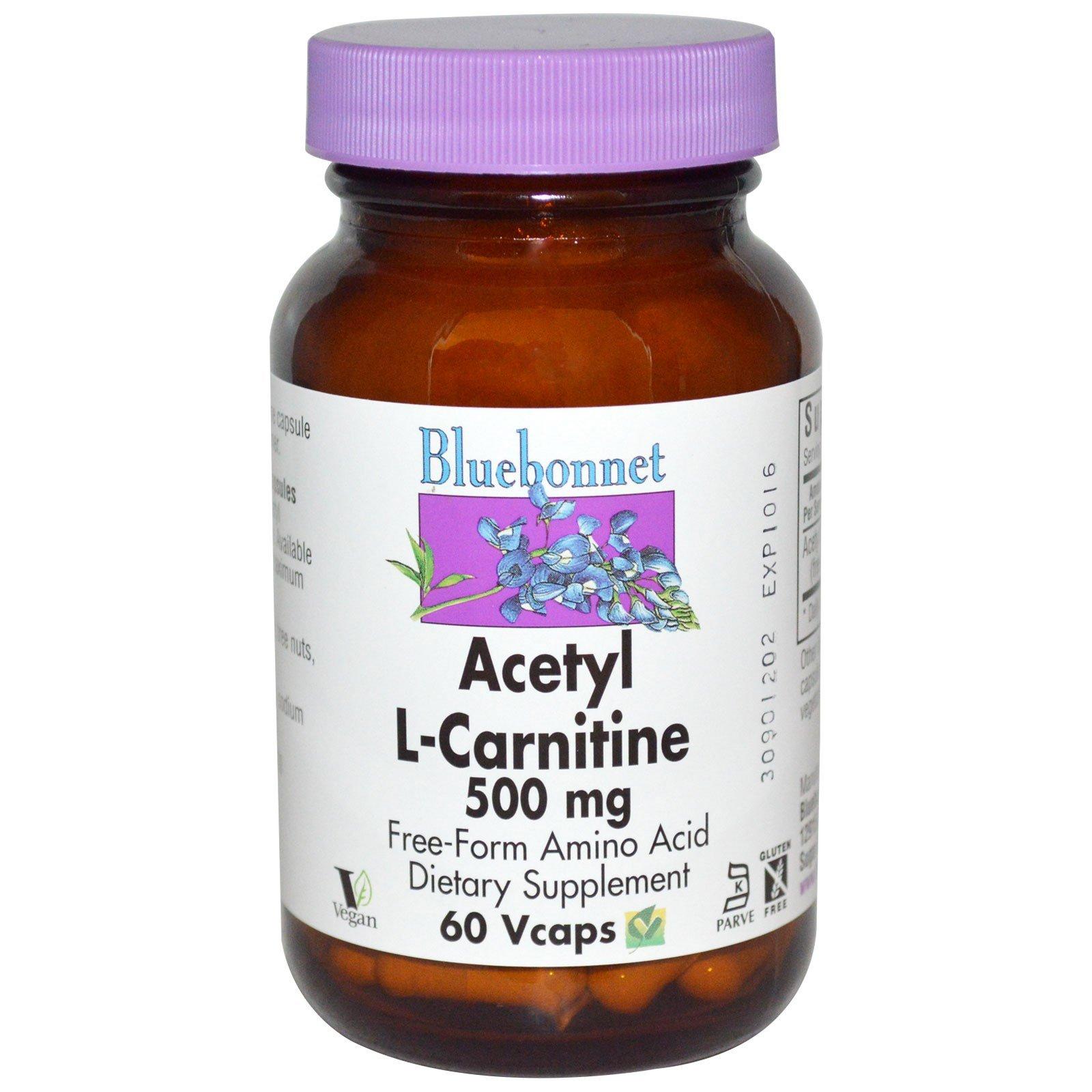 Bluebonnet Nutrition, Acetyl L-Carnitine, 500 mg, 60 Vcaps - 3PC