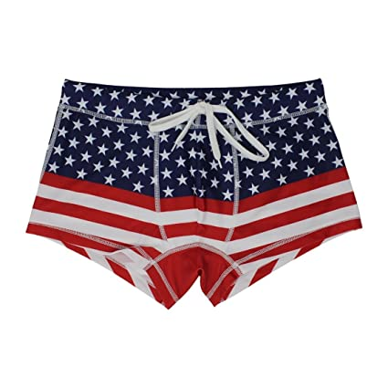 26a1bbce9c4b2 5th Industry - 20+ Styles - Mens Swim Brief Square Leg Swimsuit - American  Flag