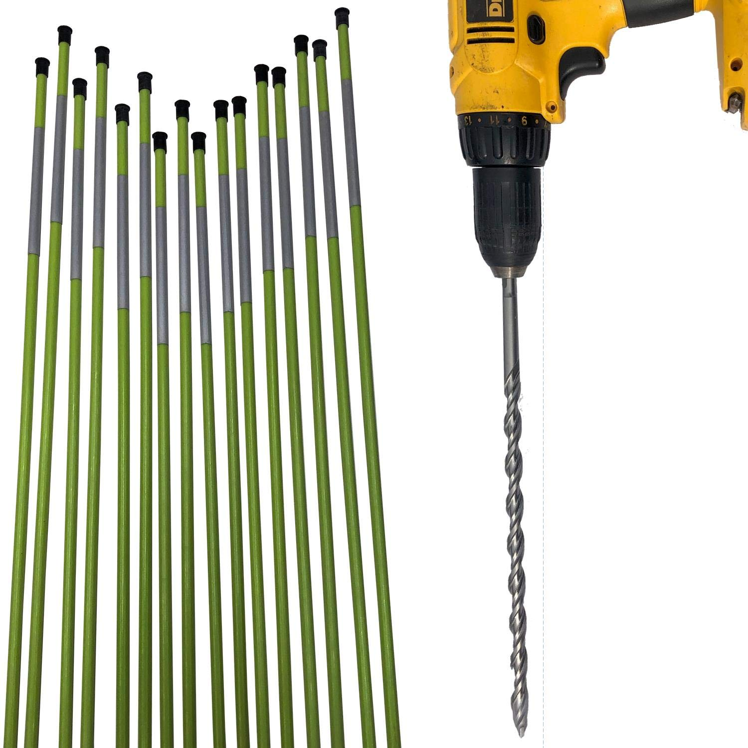 KEYFIT Tools MarkerBit & Driveway Reflectors (16 Pack) of Driveway Markers, Snow Plow Stakes, MarkerBit for Easy Installation Up to 5/16'' Diameter Stakes