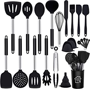GIOCOCO Kitchen Utensils Set 23Pcs,Healthy Food Grade Silicone Kitchen Gadgets. BPA Free Lead-free Kitchen Utensil for Nonstick,Stainless Steel Handle Cooking Utensil Set.Dishwasher Safe.…