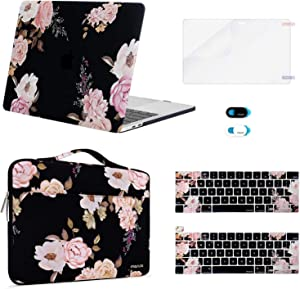 MOSISO Compatible with MacBook Pro 13 inch Case 2016-2020 Release A2289 A2251 A2159 A1989 A1706 A1708, Plastic Peony Hard Shell Case&Sleeve Bag&Keyboard Skin&Webcam Cover&Screen Protector, Black
