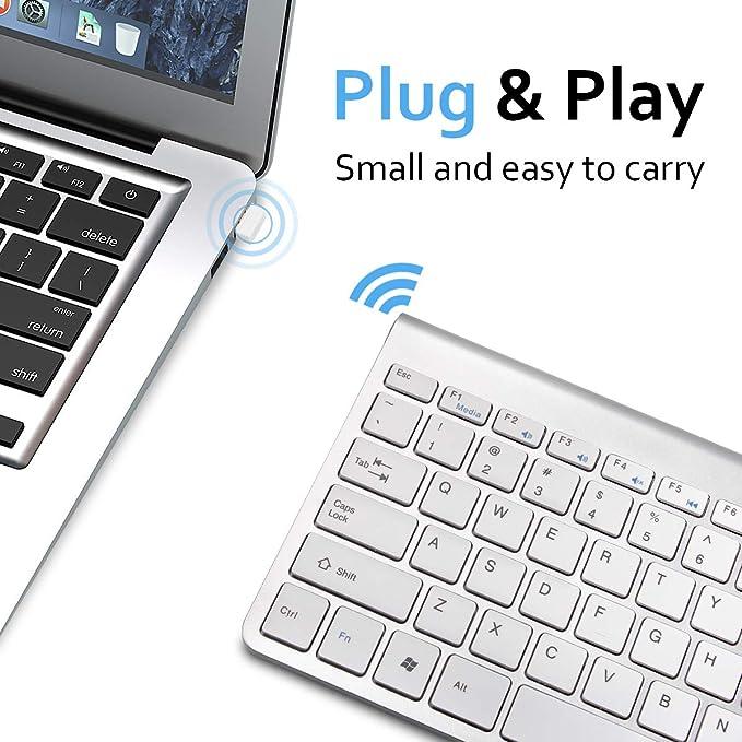 AODOOR Teclado inalámbrico Mini USB para Ordenador pequeño ...
