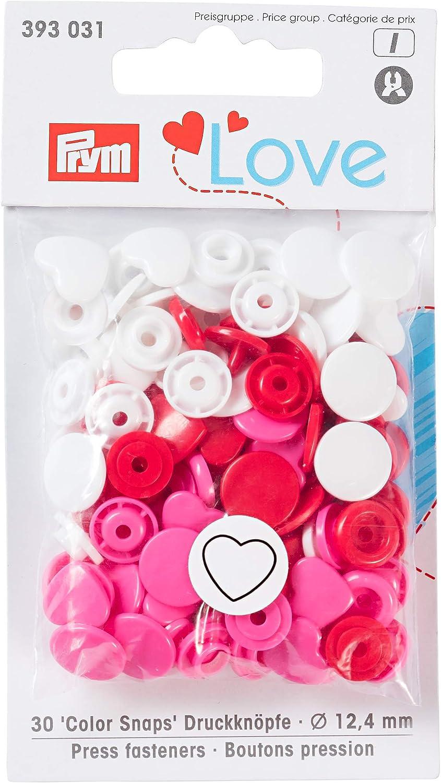 Prym prymlove Forma de corazón Non-Sew ColorSnaps Snap Fasteners, plástico, Rojo/Blanco/Rosa Brillante, 12,4mm, 30Piezas