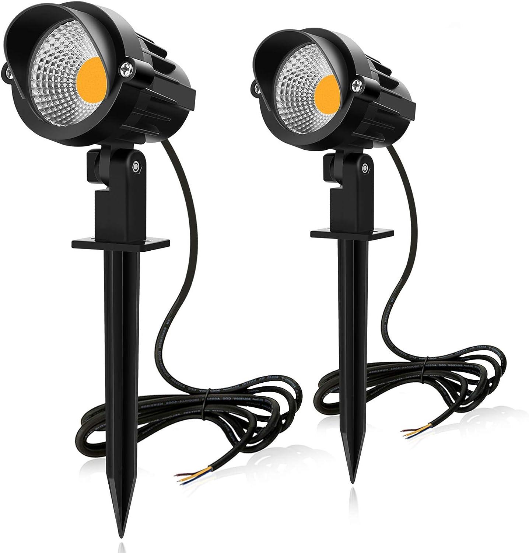 MEIKEE 2PCS Foco Proyector Exterior 7W LED Lámpara de Césped con Espica Impermeable IP66 Focos de Jardín con Pincho 800lm Blanco Cálido Luz de Jardín Suelo Caminos Paisajes Decoración(85V-265). Eficiencia energética A++