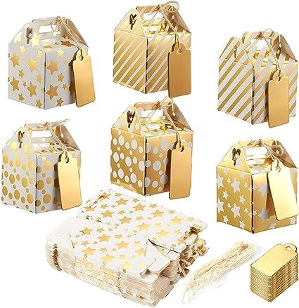 Cajas de regalo de papel para caramelos, 36 unidades, cajas de regalo, dorado, 36-Pack: Amazon.es: Hogar