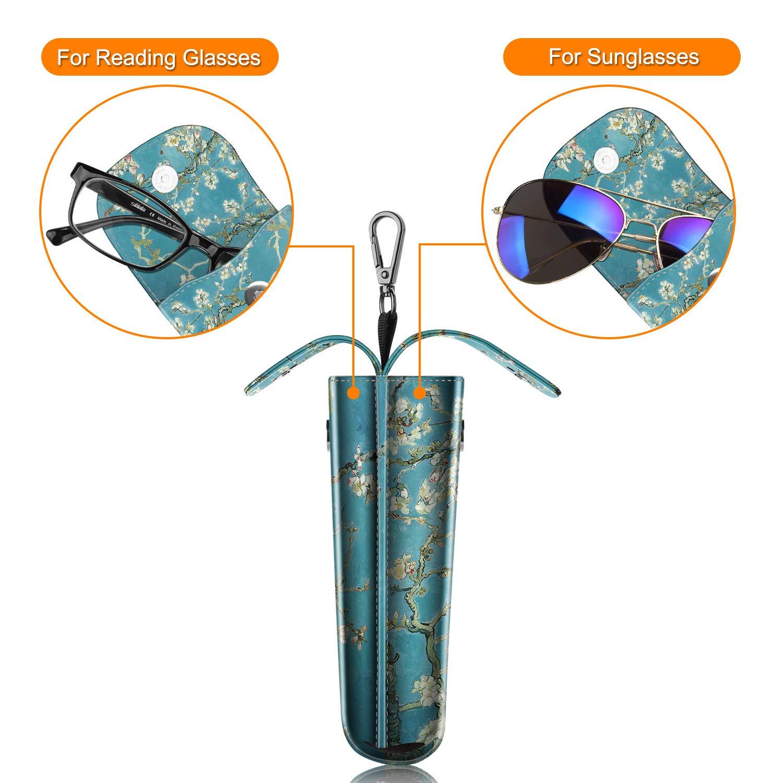 FINTIE Double Glasses Custodia con Gancio Moschettone Grigio Portatile Custodia Protettiva in PU Pelle Case AntiGraffio per Occhiali da Sole