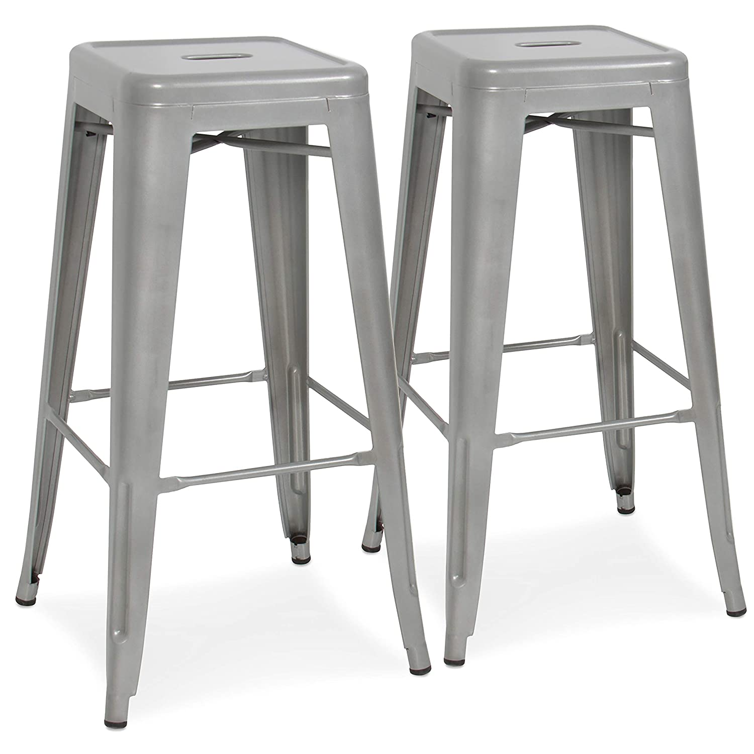 Best Choice Products 30in Set of 2 Modern Industrial Backless Metal Counter Height Bar Stools w/Drainage Holes for Indoor/Outdoor Kitchen, Bonus Room, Patio - Silver