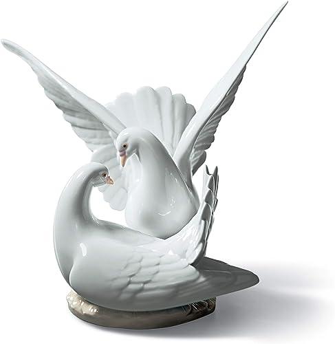 LLADR Love Nest Doves Figurine. Porcelain Doves Figure.