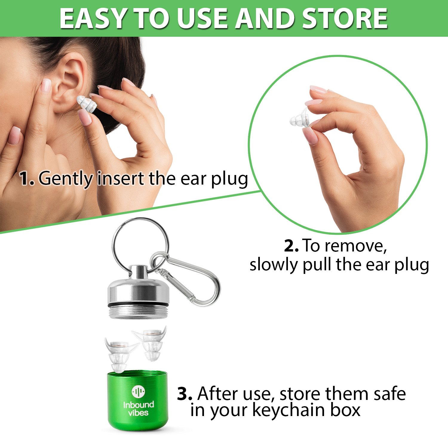 Sound Reducing Professional Ear Plugs - Most Effective Noise Reduction Ear Plugs for Concerts, Work, Sleep and Motorcycle Ear Protection - Soft and Comfortable Reusable Ear Plugs - Earplugs Sleep by Inbound Vibes (Image #2)