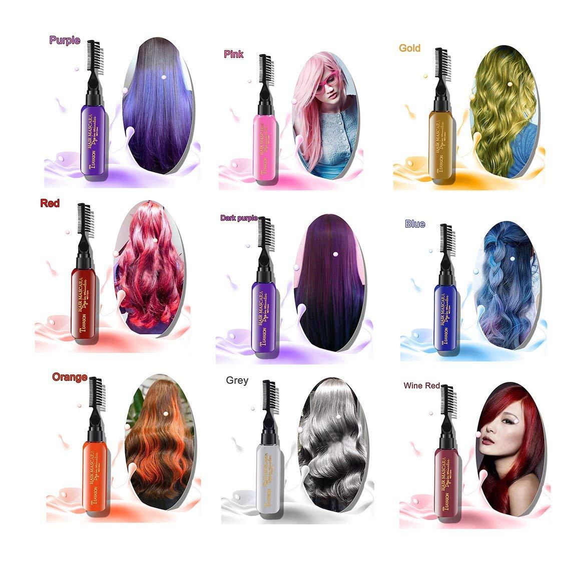 Nuovo colore di capelli fai da te di marca non dolore capelli facile da  pulire non tossico crema di capelli temporaneo mascara 13 colori - vino  rosso  ... 831240e6d98d