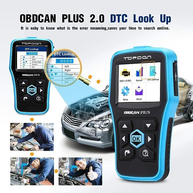 TOPDON Code Reader Plus 3.0 OBD2 Escáner de Avería del motor Comprobación de Apagado de la luz del motor Prueba de Emisiones para ITV OBDII con Gráficos en Vivo DTC Búsqueda Error: