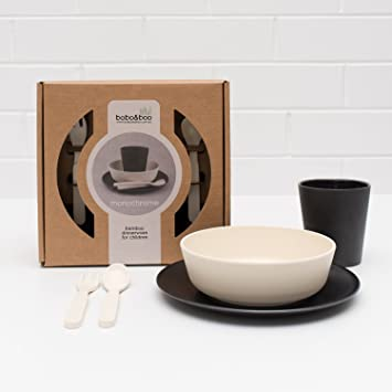 Bobou0026Boo Bamboo 5 Piece Childrenu0027s Dinnerware Monochrome Non Toxic u0026 Eco Friendly Kids Mealtime & Amazon.com : Bobou0026Boo Bamboo 5 Piece Childrenu0027s Dinnerware ...