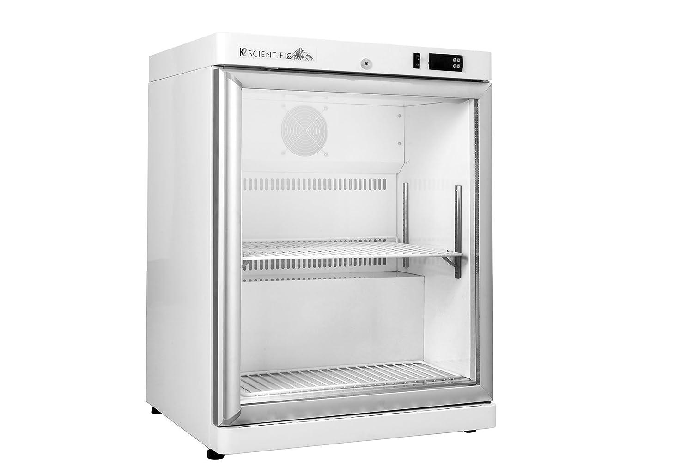 K2 Scientific 4 cu. ft. Laboratory Undercounter Freestanding Glass Door Refrigerator