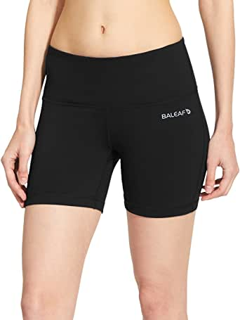 """BALEAF Women's 5"""" Compression Shorts for Bike Volleyball Yoga Exercise Shorts Inner Pocket for 5.5"""" Mobile Phone"""