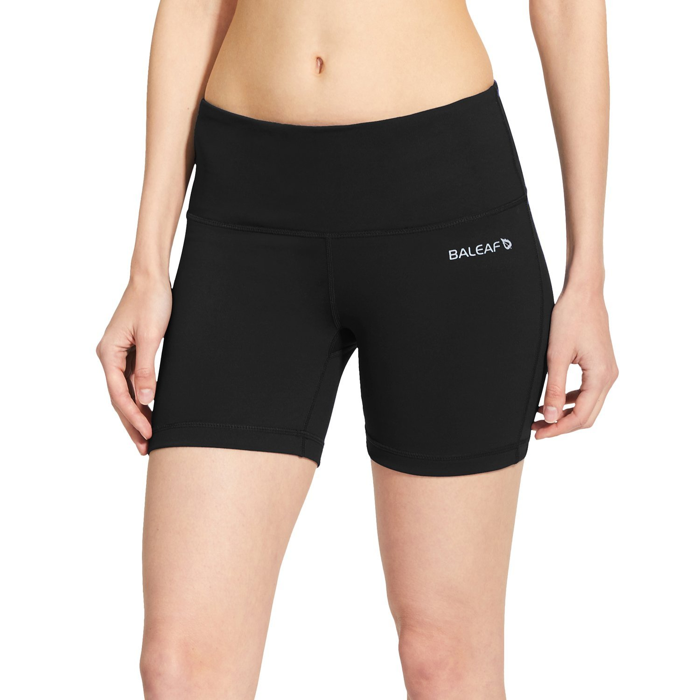 Baleaf Women's 5'' High Waist Workout Yoga Shorts Tummy Control Inner Pocket Black Size M