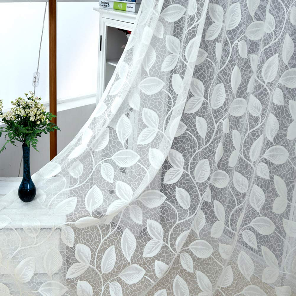 Aside Bside Voile Panels Home Treatment Rural Style Leaves Wrap Knitting Sheer Curtains Rod Pockets For Kitchen Houseroom and Child Room (1 Panel, W 52 x L 63 inch, White)