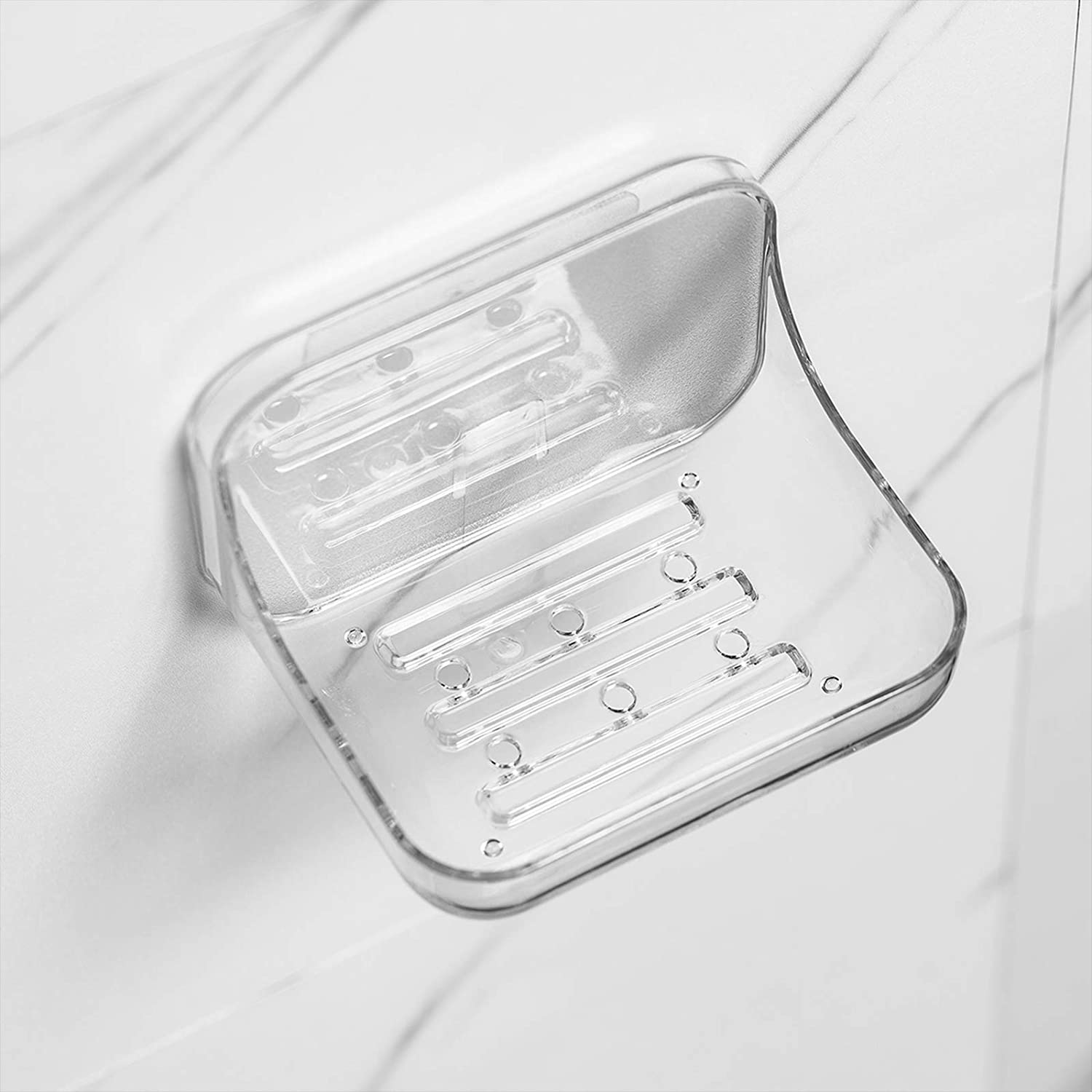 Ettori Soap Dish Holder Soap Holder with Wall Mounted Adhesive Kitchen Shower Soap Sponge Holder for Bathroom No Drilling,Clear Plastic