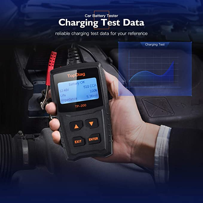 TopDiag TP-200 12V Veicolo Tester per Batteria Universal Cars Sistema di Avviamento e Ricarica Strumento di Diagnostica CCA100-1700 Autos Battery Test Tool Analizzatore (30AH-100AH)