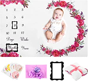 "Baby Girl Milestone Blankets with Props - 55x39"" Infant Personalized Floral Monthly Fleece Blanket for Newborn First Year 1to12 Months Growth Picture, Custom Photo, Cute Flower Decor, Shower Gift"