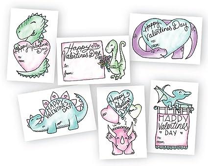 Amazon Com Adorable Dinos Classroom Valentines Day Exchange Cards