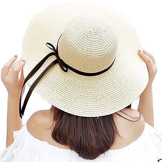 Orlasha Womens Sun Hat Summer Beach Hat Big Brim Straw Hat Floppy Foldable  Bowknot Cap 7d47e1d05a69