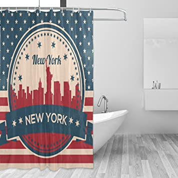 Image Unavailable Not Available For Color Franzibla Vintage American Flag New York Skyline Shower Curtains