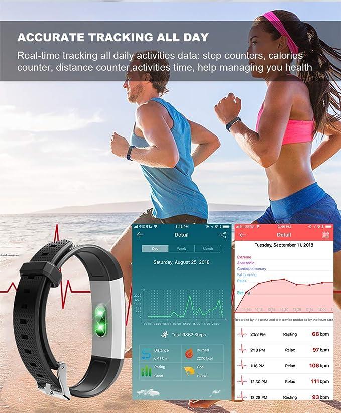 Pulsera Actividad, ASITA Pulsera Inteligente Impermeable IP67 con Monitor de Ritmo Cardíaco Actividad Podómetro Calorías y Sueño Fitness Tracker, ...