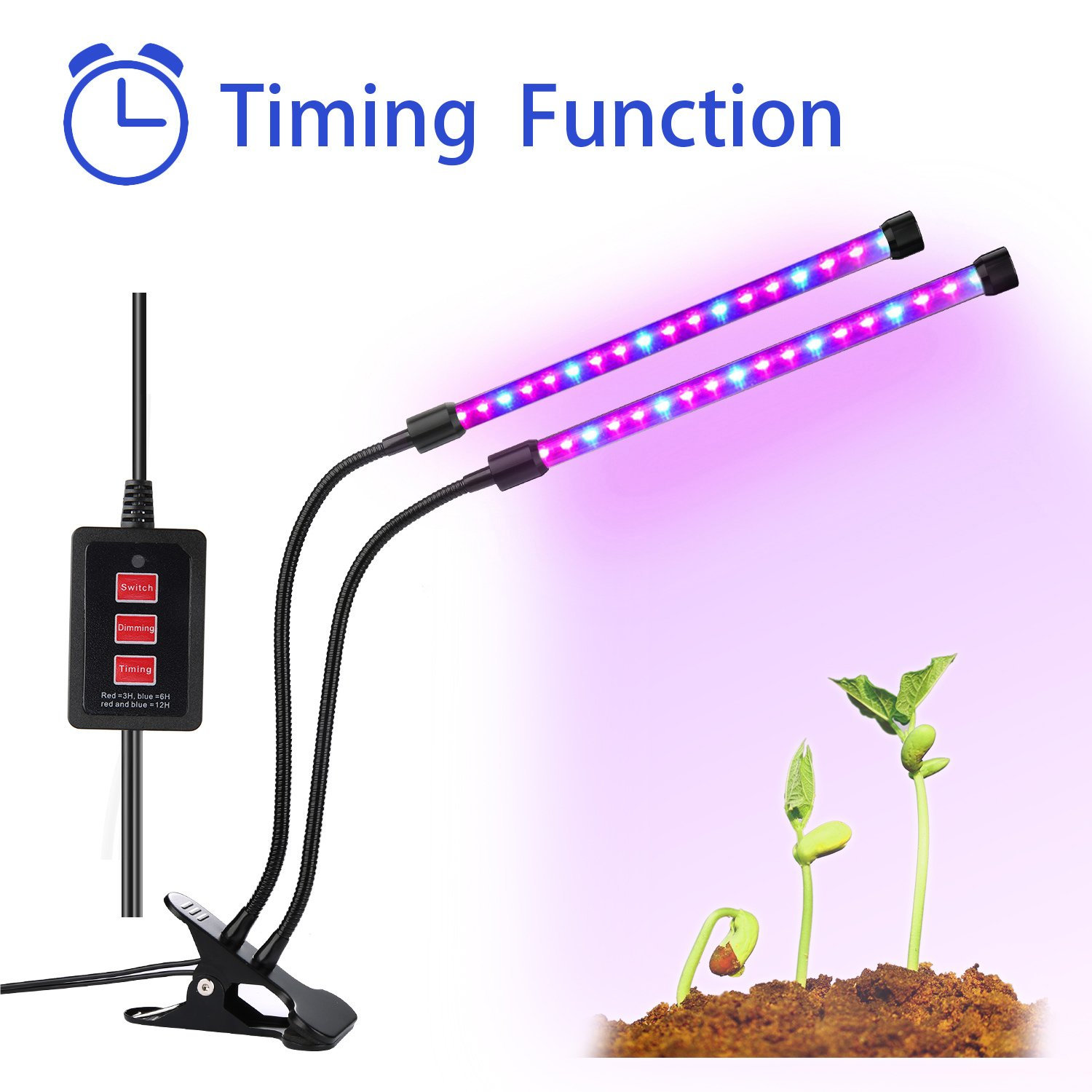 Lovebay Timing Function Dual Head Grow Light 36LED 4 Dimmable Levels Grow Lamp  Bulbs With Adjustable