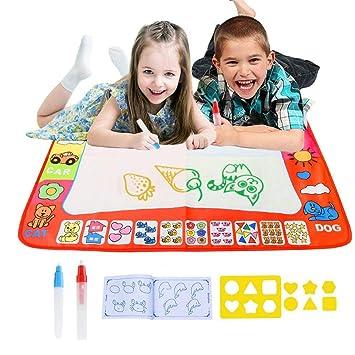 Bespick Agua Dibujo Pintura Magia Doodle Comida Agua Doodle esteras mágicas 80*60CM Libro magico Agua, Pizarra Magica Agua del 2 bolígrafos para Niño