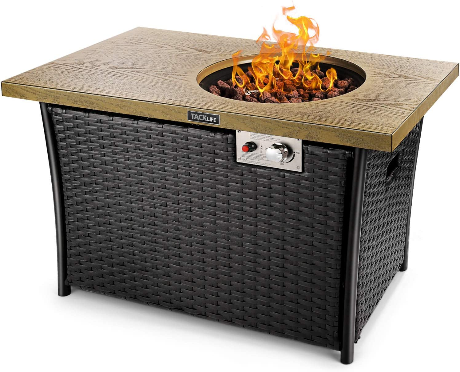 Amazon Com Tacklife Fire Table 41 Inch 50 000 Btu Propane Fire Pit Special High Grade Rattan Gas Fire Pit Table Hand Woven Outdoor Companion Etl Certification Imitation Wood Strong Steel Surface Garden Outdoor